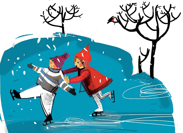новогодние картинки на льду деревянной