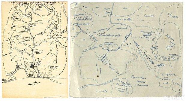 Планы месцовасцей, дзе разгортваліся падзеі ў аповесцях «Чазенія» і «Дзікае паляванне караля Стаха», 1950−1960-я гады.